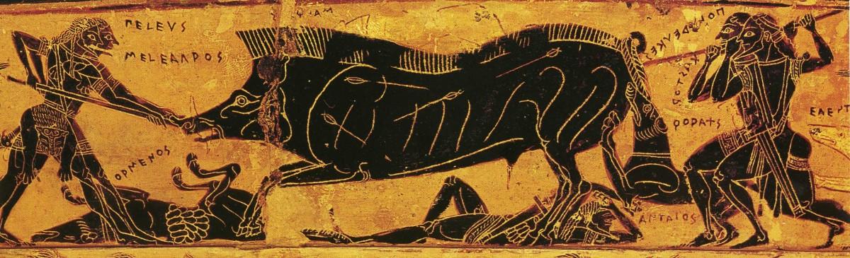 Εικ. 2. Το κυνήγι του Καλυδώνιου κάπρου, λεπτομέρεια από το «αγγείο François». Πηγή: Τιβέριος Μ., «Ελληνική τέχνη: Αρχαία αγγεία», Εκδοτική Αθηνών, Αθήνα 1996.