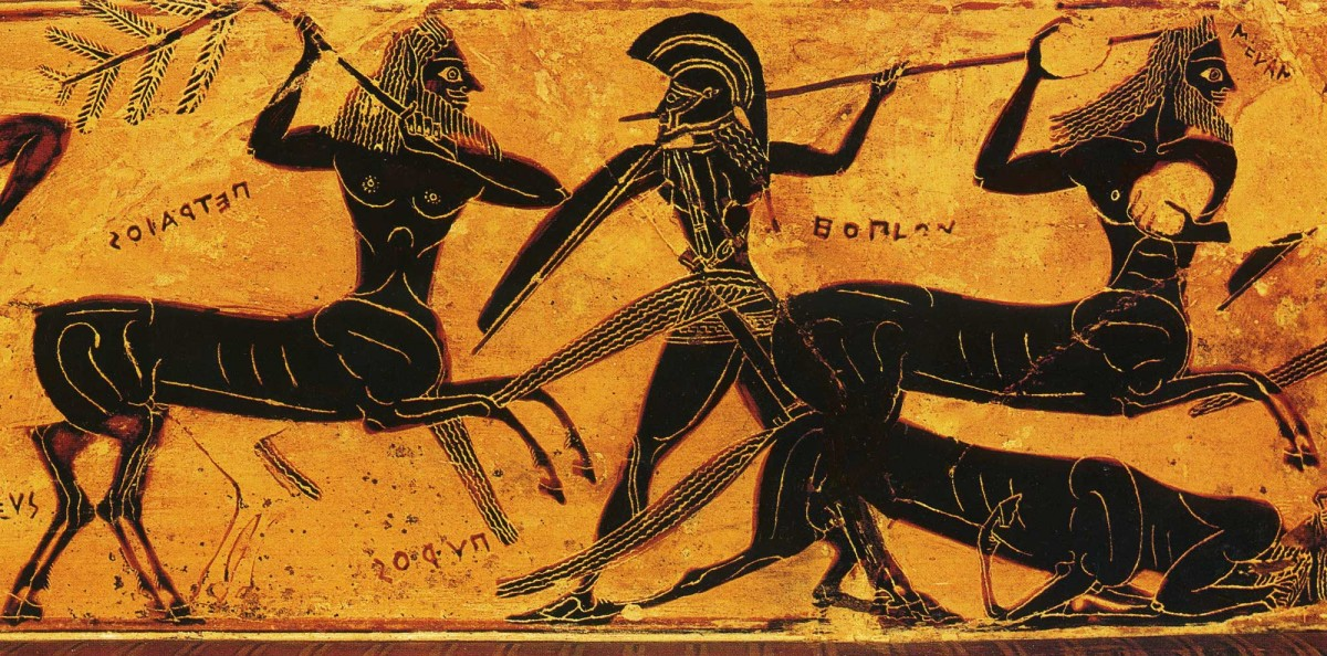 Εικ. 3. Επεισόδιο από την Κενταυρομαχία που εικονίζεται στο λαιμό της άλλης όψης του «αγγείου François». Πηγή: Τιβέριος Μ., «Ελληνική τέχνη: Αρχαία αγγεία», Εκδοτική Αθηνών, Αθήνα 1996.