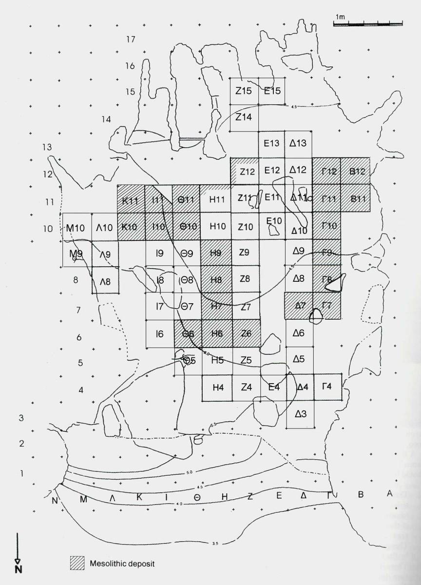 Εικ. 3. Σχεδιαστική κάτοψη του σπηλαίου, στη νότια περιοχή διακρίνονται οι κόγχες. Με διαγράμμιση διακρίνονται τα τετράγωνα όπου εντοπίστηκε μεσολιθική επίχωση. (σχέδιο Χατζηθεοδώρου-Δρίβα)