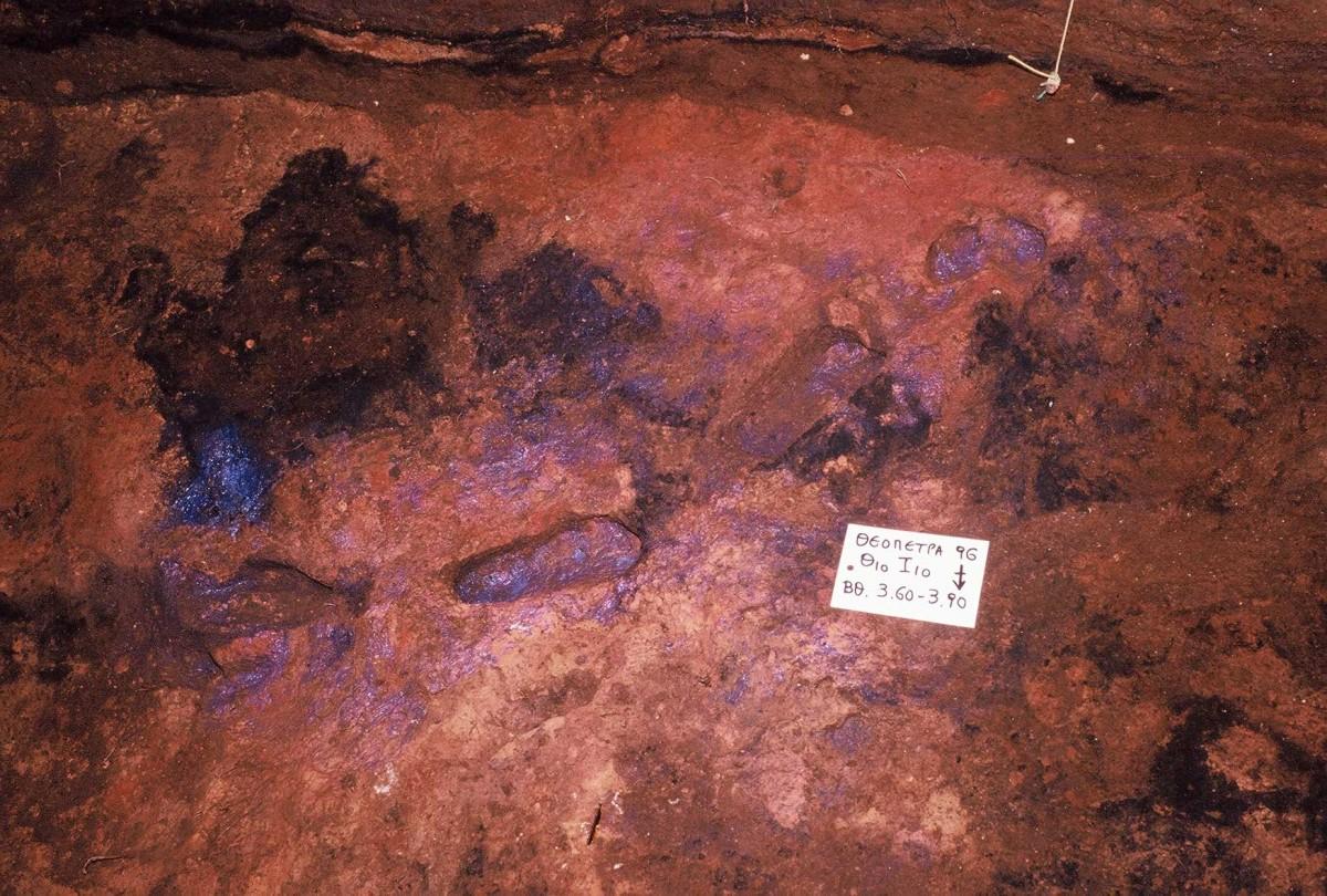 Εικ. 40. Τέσσερα αποτυπώματα ανθρώπινων πελμάτων που βρέθηκαν σε στρώμα χρονολογημένο μεταξύ 128-131.000 χρόνια από σήμερα (Karkanas κ.ά. 2014).
