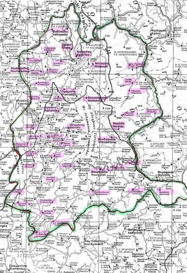 Εικ. 1. Πολιτικός χάρτης στον οποίο οριοθετείται, συμβατικά, η σύγχρονη περιοχή των Τζουμέρκων και επισημαίνονται οι 47 κοινότητες που την αποτελούν. (Αρχείο της Ιστορικής και Λαογραφικής Εταιρείας Τζουμέρκων.)