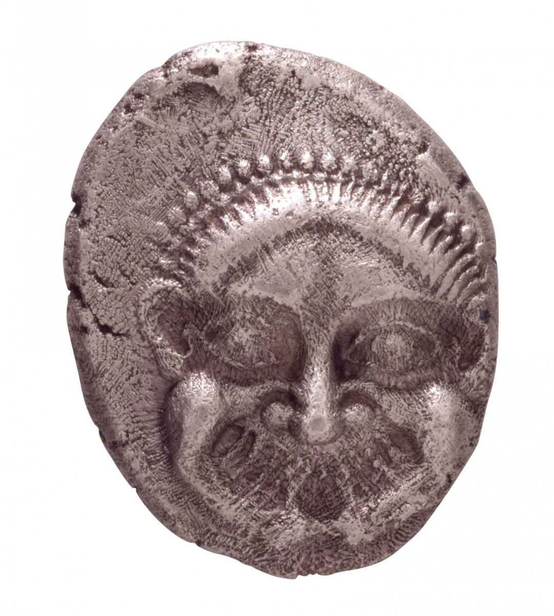 Αθηναϊκό τετράδραχμο με γοργόνειο, β' μισό 6ου αι. π.Χ., Νομισματικό Μουσείο, Αθήνα.