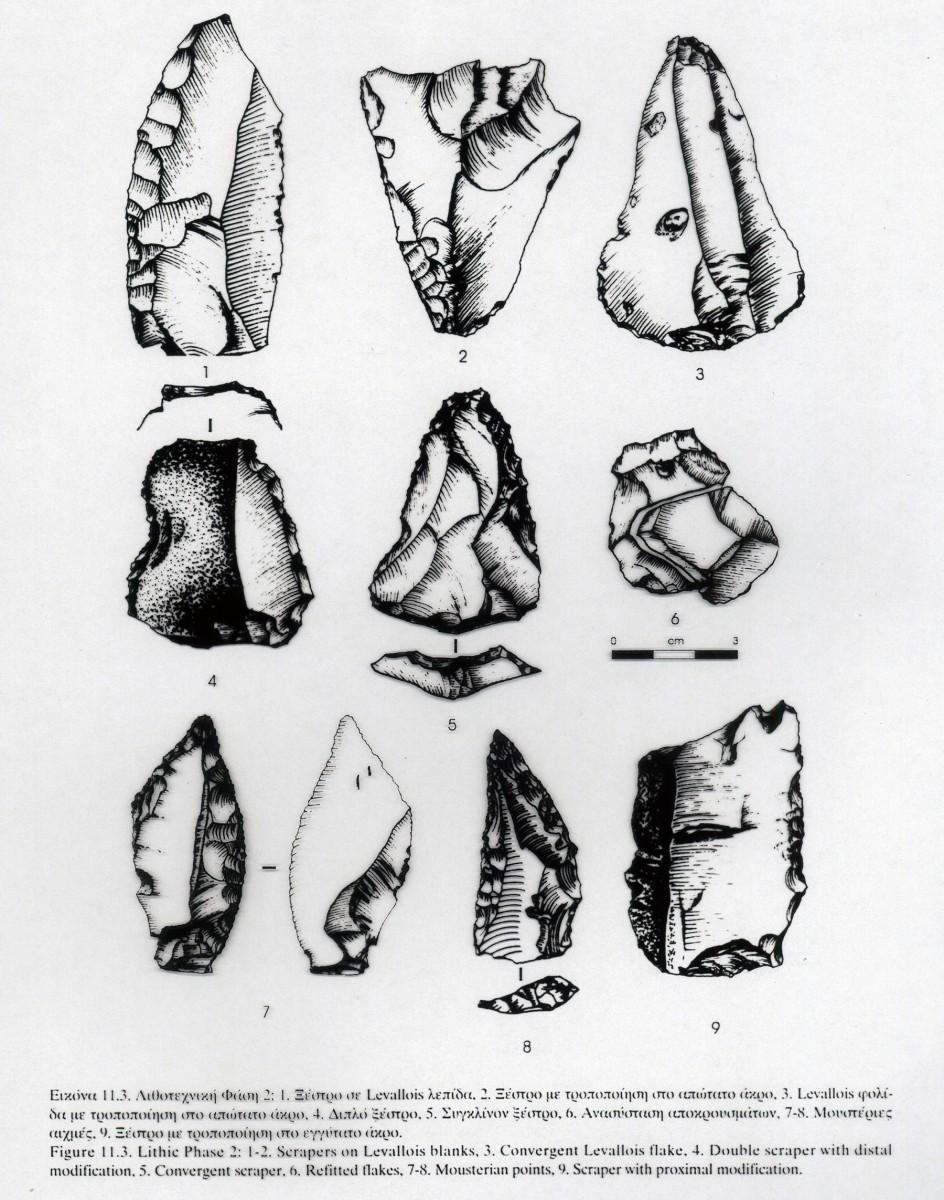 Εικ. 10. Σχέδια λίθινων εργαλείων της Μέσης Παλαιολιθικής (Παναγοπούλου 2000, εικ. 11.3, σχέδιο Δ. Μπακογιαννάκη).