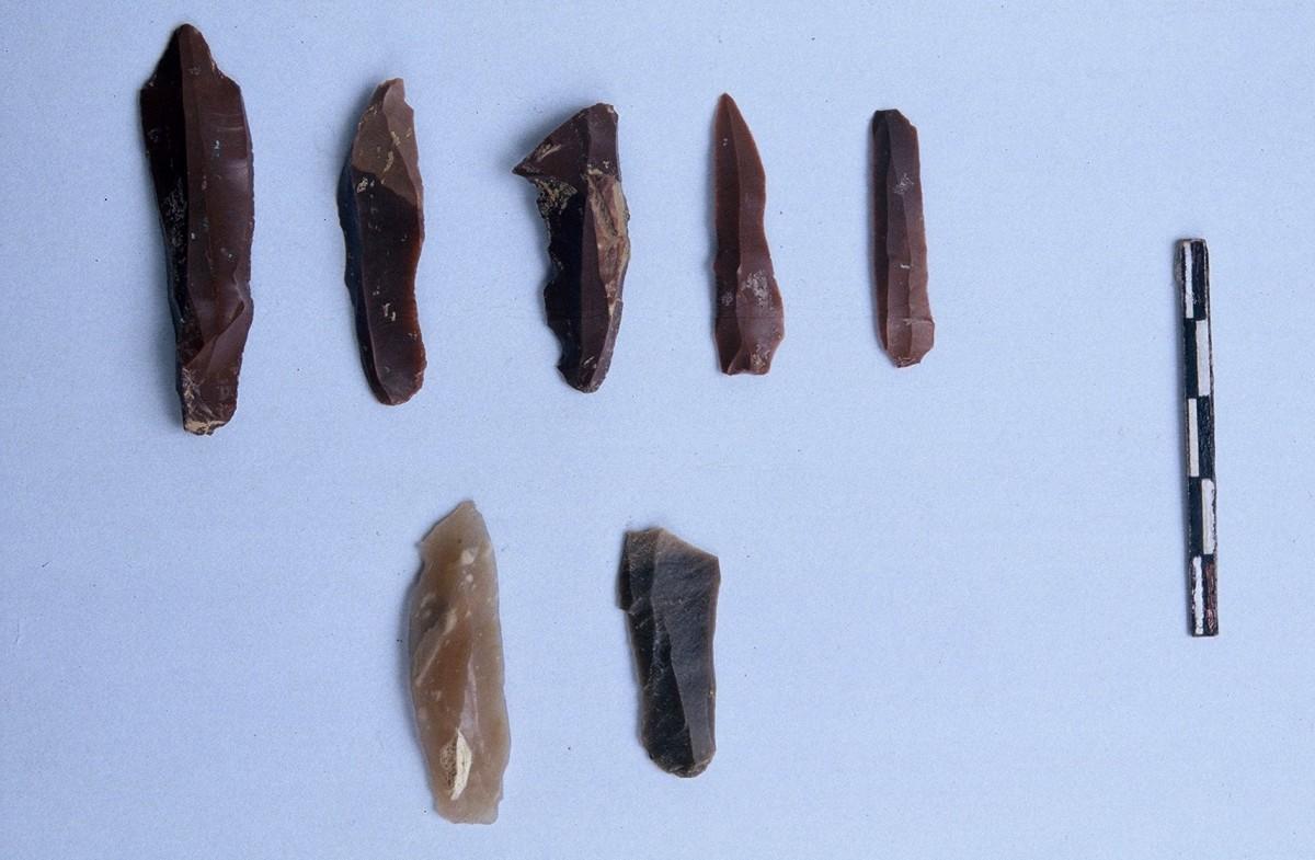 Εικ. 12. Λεπιδόσχημα εργαλεία από πυριτόλιθο, της Ανώτερης Παλαιολιθικής.