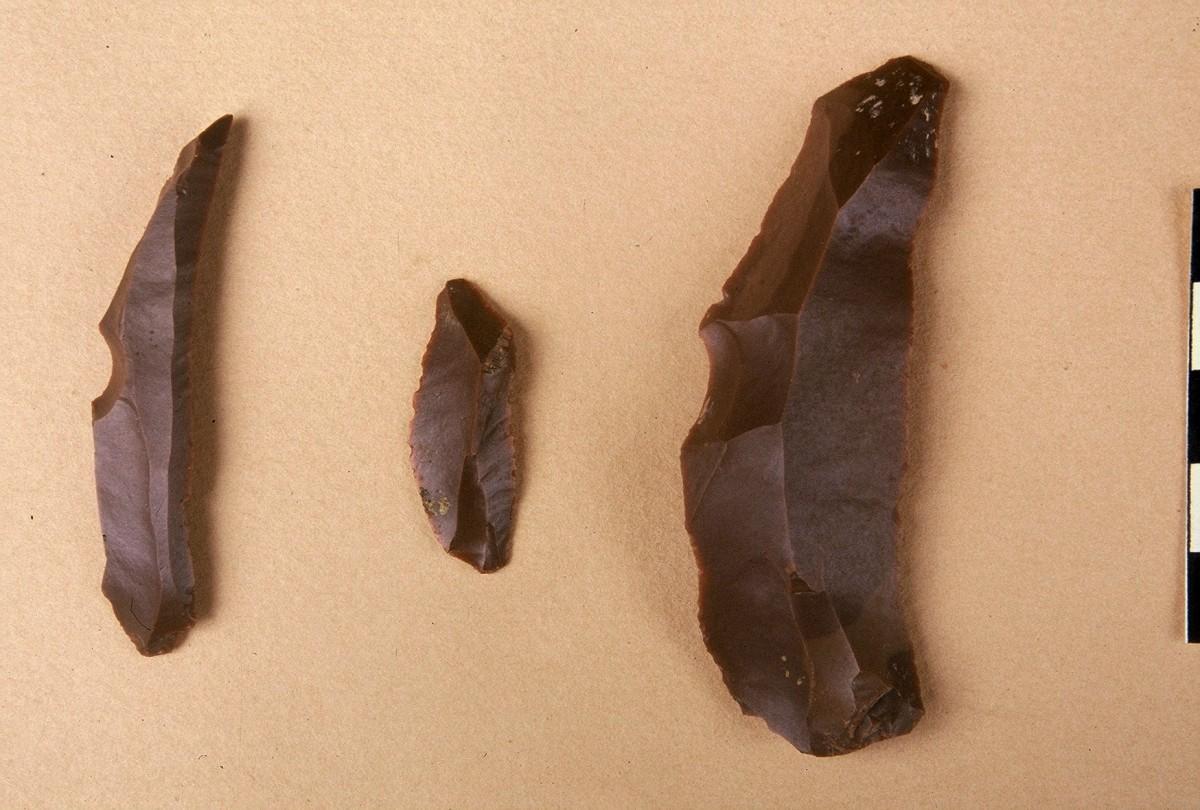 Εικ. 13. Λεπιδόσχημα εργαλεία από πυριτόλιθο, της Ανώτερης Παλαιολιθικής.