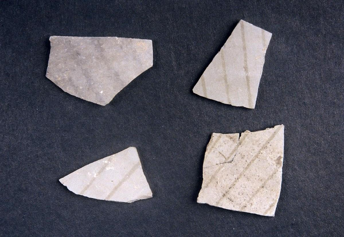 Εικ. 21. Όστρακα με διακόσμηση γκρι πάνω σε γκρι των αρχών της Νεότερης Νεολιθικής.