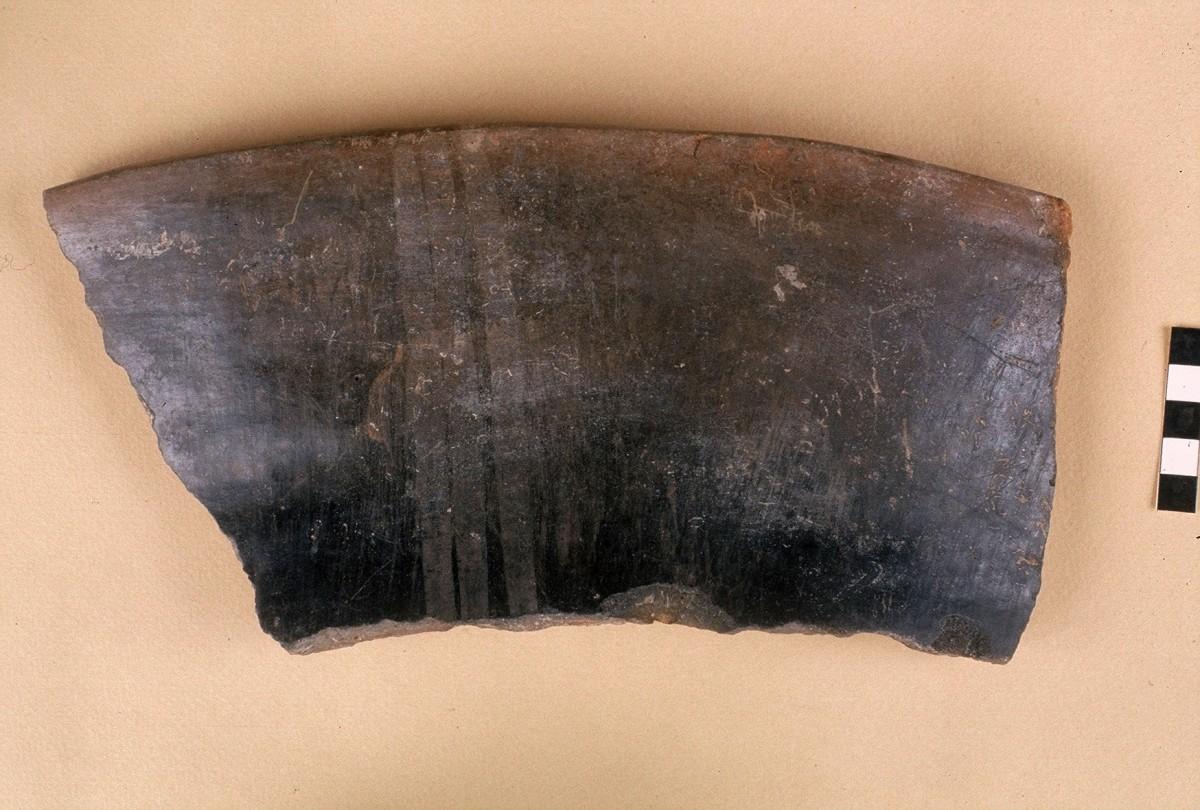 Εικ. 22. Όστρακο πιθαριού με μαύρη στίλβωση τύπου Λάρισας, με επιπλέον γραπτή διακόσμηση. Νεότερη Νεολιθική.