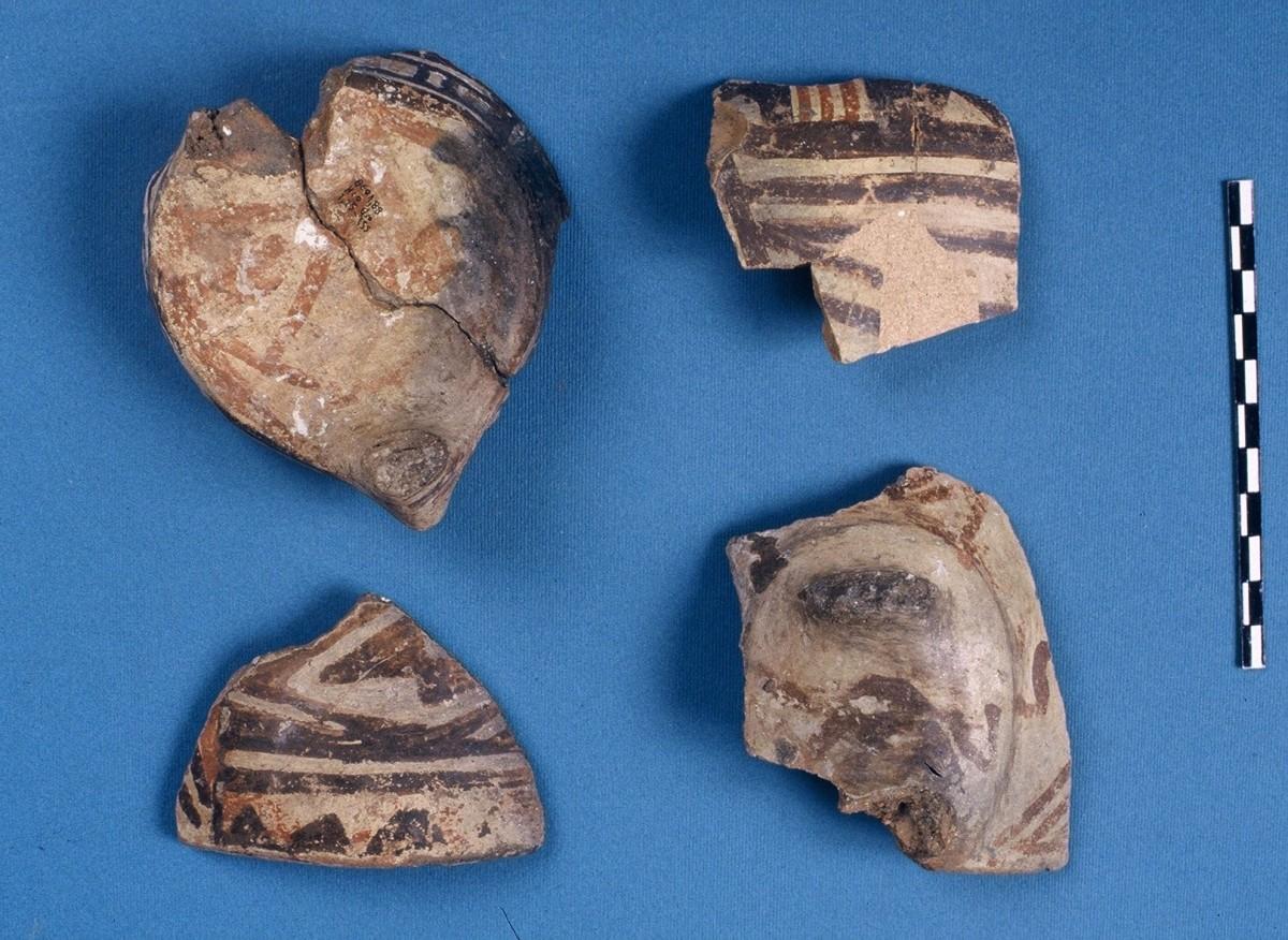 Εικ. 23. Όστρακα με πολύχρωμη διακόσμηση τύπου Αράπη, της Νεότερης Νεολιθικής.