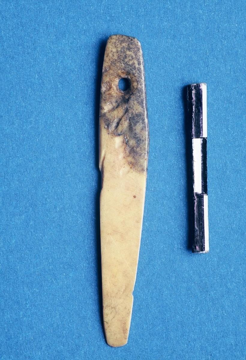 Εικ. 29. Οστέινη βελόνα με οπή, διαμορφωμένη σε πλευρό ζώου.