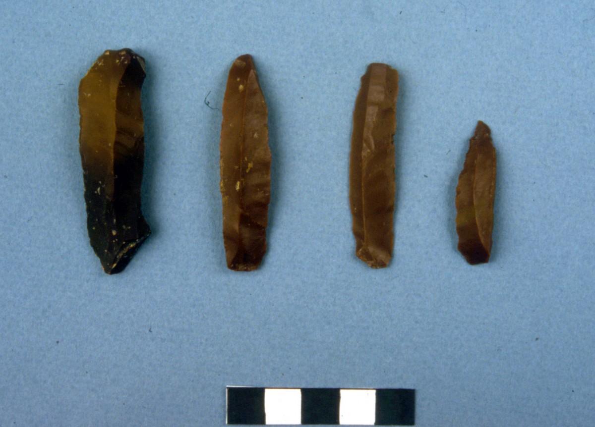 Εικ. 32. Λεπίδες από πυριτόλιθο σε σοκολατί χρώμα.