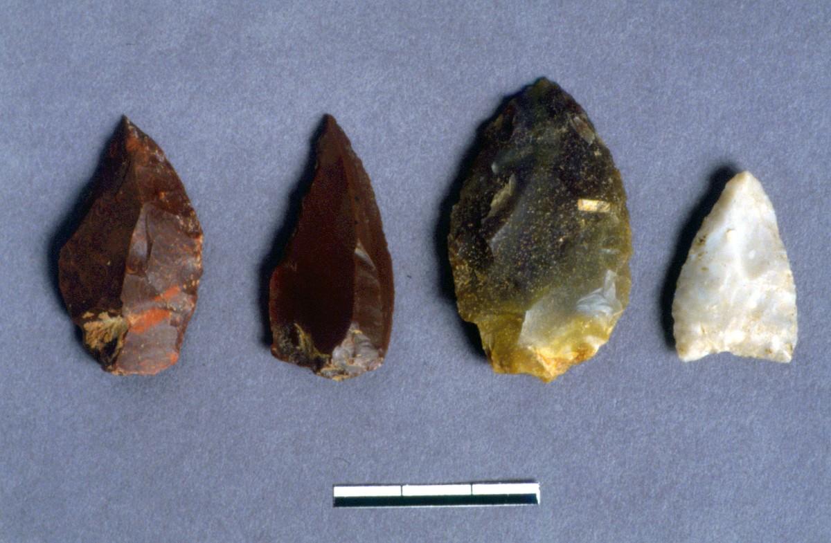 Εικ. 33. Αιχμές από διάφορους πυριτόλιθους και χαλαζία.