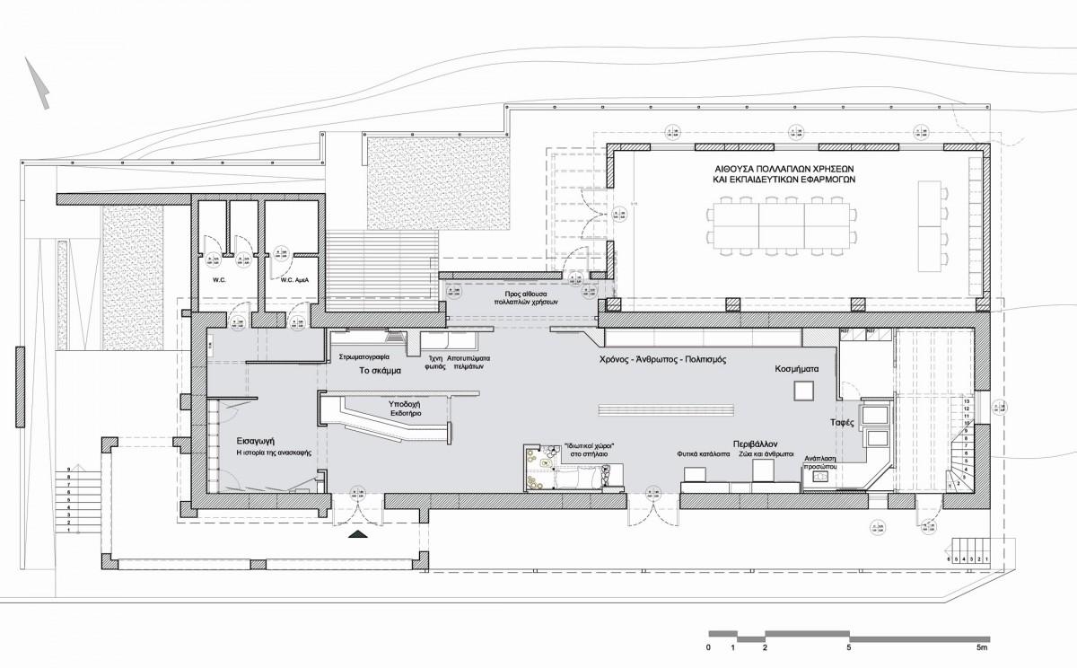 Εικ. 7. Κάτοψη του μουσειακού κτιρίου με την επέκταση για τα εκπαιδευτικά προγράμματα και άλλες χρήσεις. Διακρίνεται η θέση των διαφόρων προθηκών και των χρήσεων του χώρου.