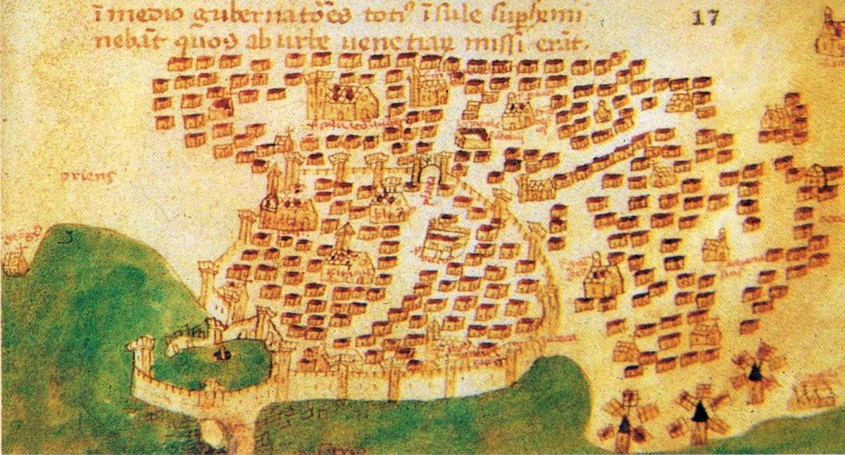 Εικ. 1. Ο Χάνδακας κατά την πρώιμη Βενετοκρατία (Christoforo Buondelmondi, 1415).