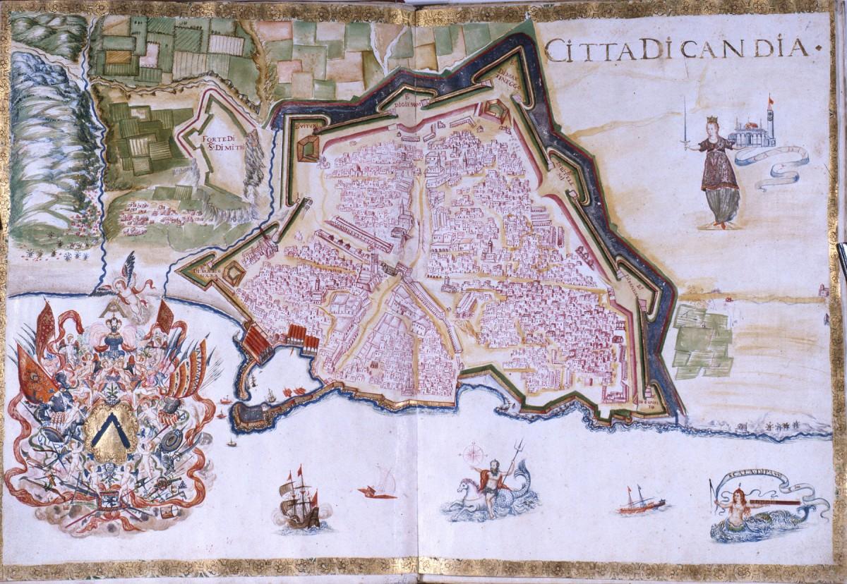 Εικ. 12. Η πόλη και οι οχυρώσεις του Χάνδακα. Διακρίνεται η αρχική οχύρωση (G. Corner 1625).