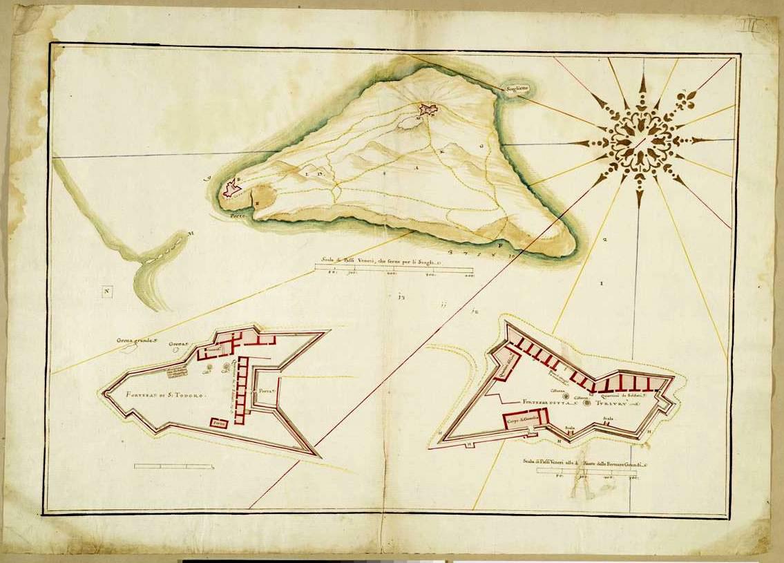 Εικ. 24. Νησίδα των Αγίων Θεοδώρων (Θοδωρού). Τα φρούρια S. Todoro (κάτω) και Turlulru (άνω).
