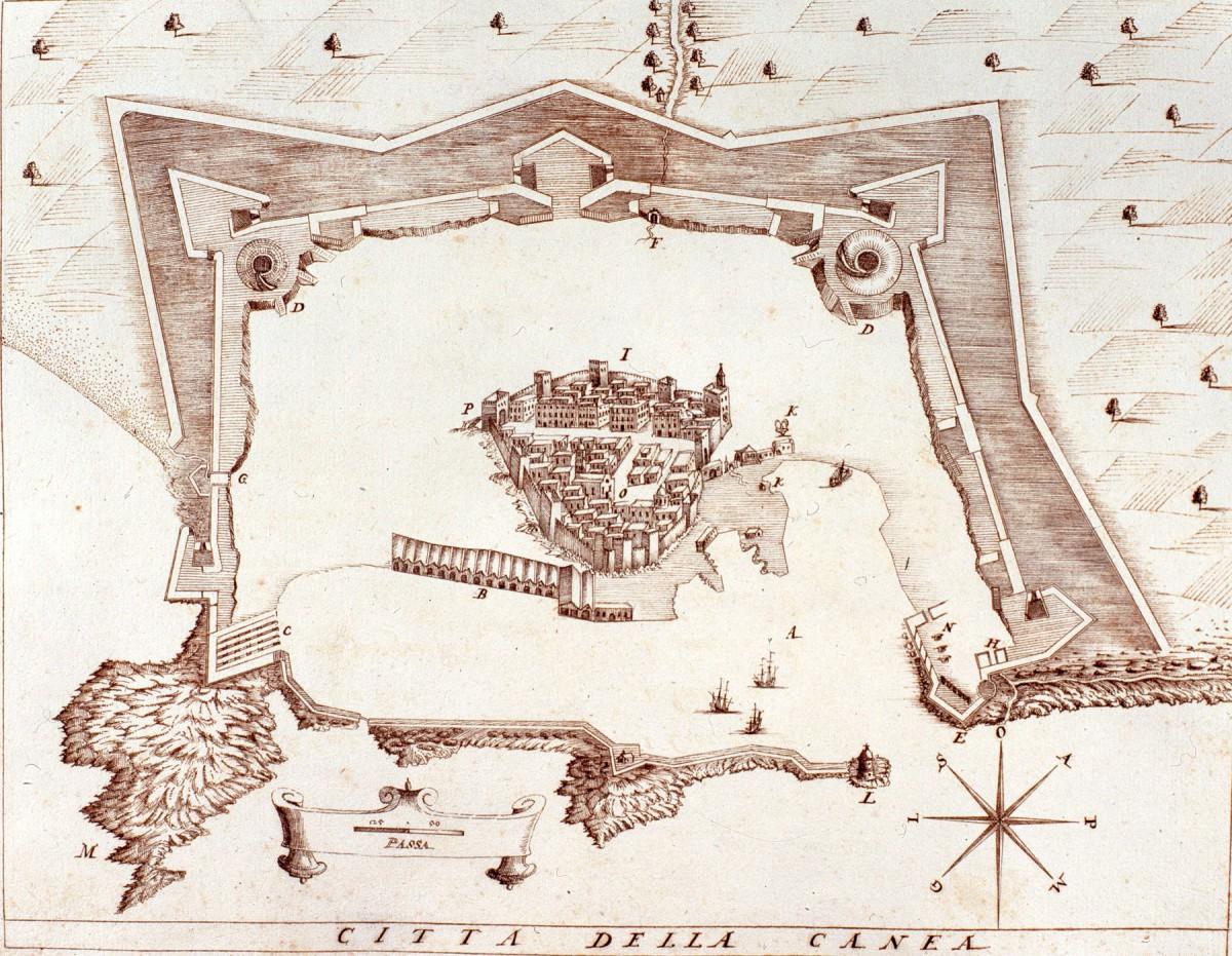Εικ. 3. Η ακρόπολη των Χανιών και οι προμαχωνικές οχυρώσεις (H. Nanni 1612).