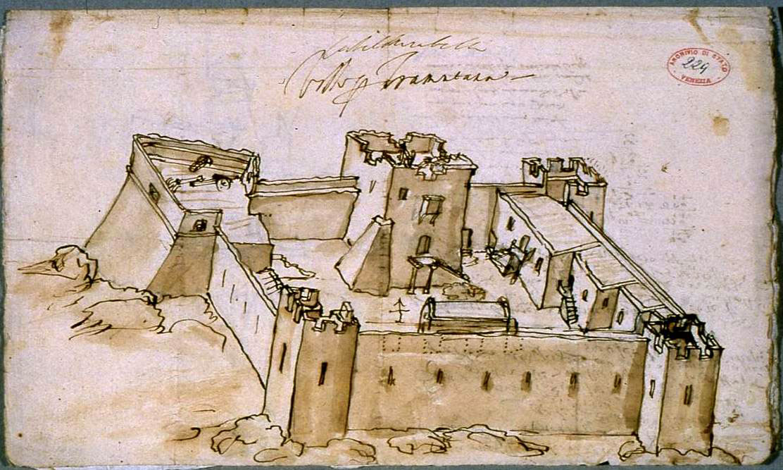 Εικ. 7. Το  Castel Mirabelo στον Άγιο Νικόλαο Λασιθίου (R.F. Monani, 1612).