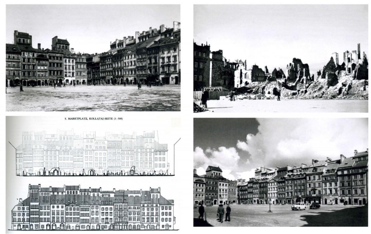 Εικ. 11. Βαρσοβία, υποκατάστατα μνήμης: η ανασύσταση της κεντρικής πλατείας μετά τη σχεδόν ολοκληρωτική καταστροφή της.