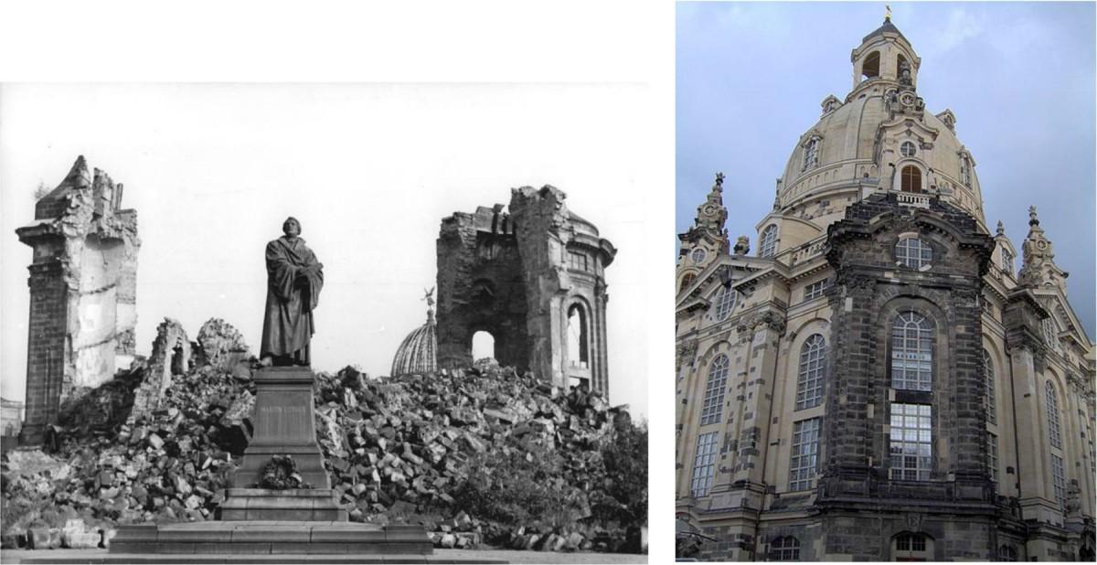 Εικ. 12. Δρέσδη, Frauenkirche: τμήμα του ερειπίου ενσωματώθηκε στην ανακατασκευασμένη εκκλησία.
