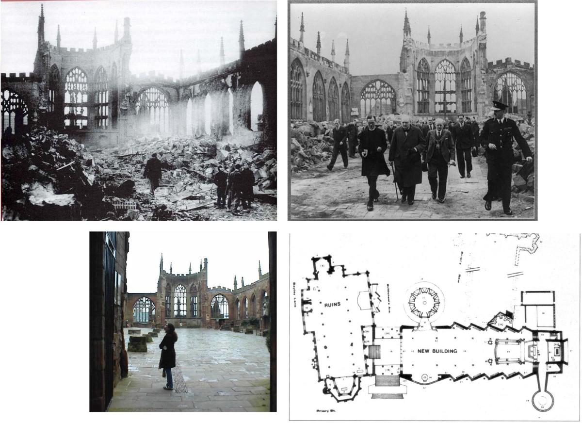 Εικ. 13. Καθεδρικός ναός του Coventry στην Αγγλία: δίπλα στο φροντισμένο ερείπιο κτίστηκε νέος ναός.