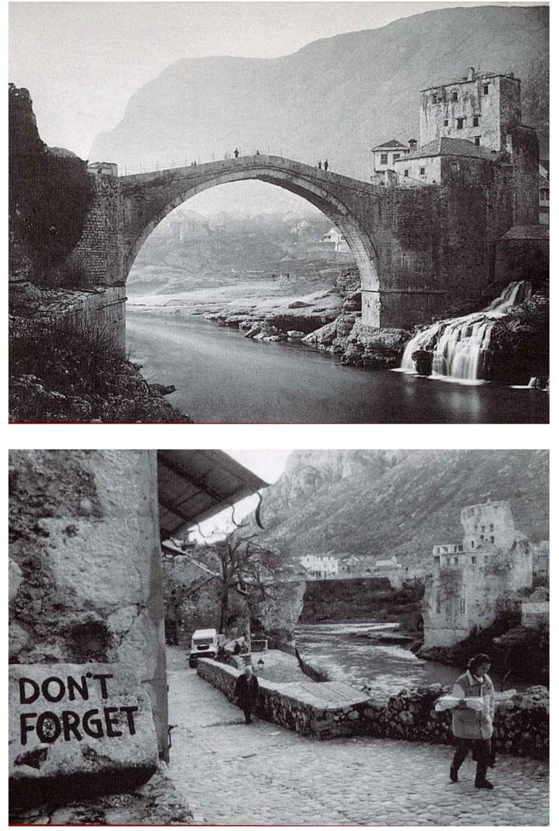 Εικ. 14. Βοσνία, Γέφυρα Μοστάρ: Πριν και μετά την καταστροφή.