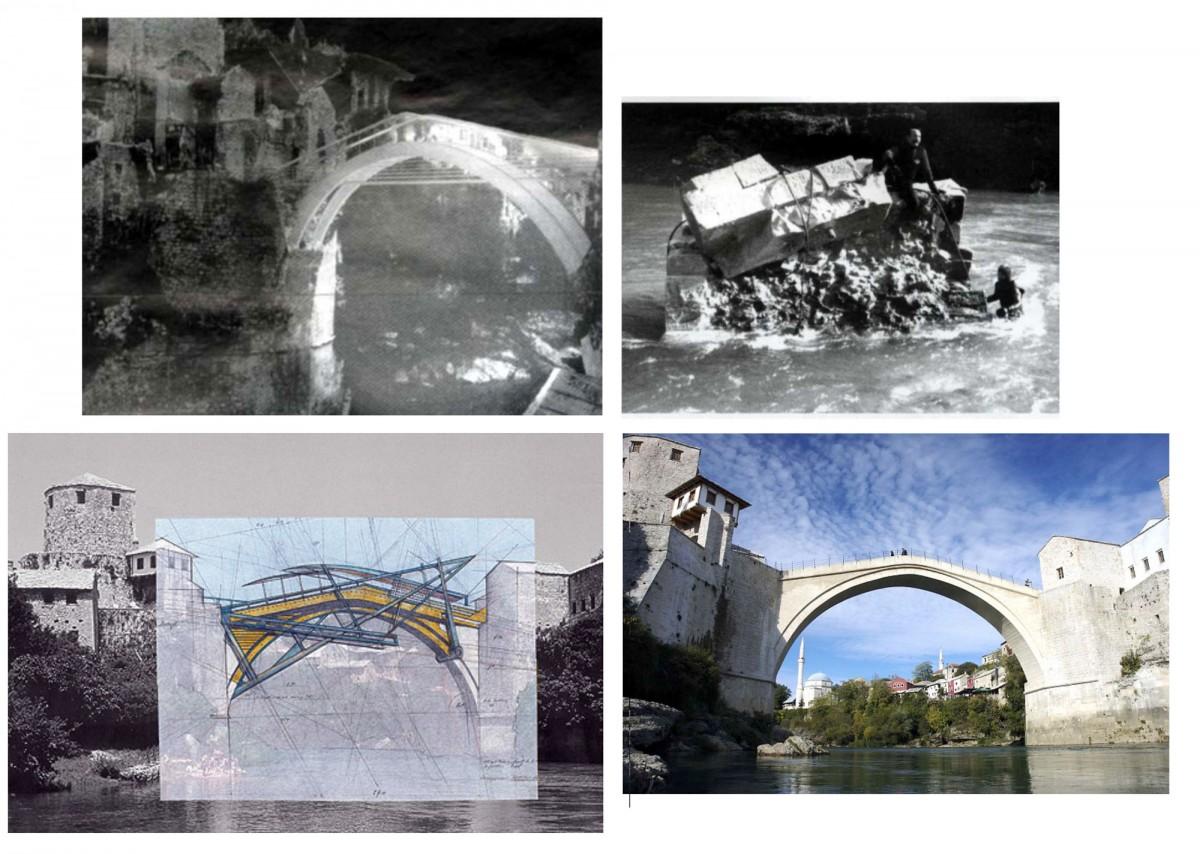 Εικ. 15. Βοσνία, Γέφυρα Μοστάρ: προτάσεις ανασύστασης της γέφυρας και η τελική επιλογή της ανακατασκευής της παλιάς.
