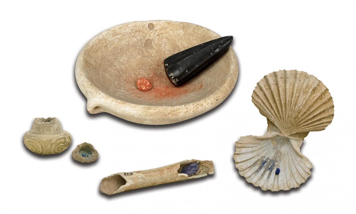 Εξοπλισμός για την παρασκευή και τη μεταφορά χρωμάτων, ΕΑΜ - Συλλογή Προϊστορικών, Αιγυπτιακών, Κυπριακών και Ανατολικών Αρχαιοτήτων, αρ. ευρ. Π 4774, 4778.3, 11889, 6204, 8818