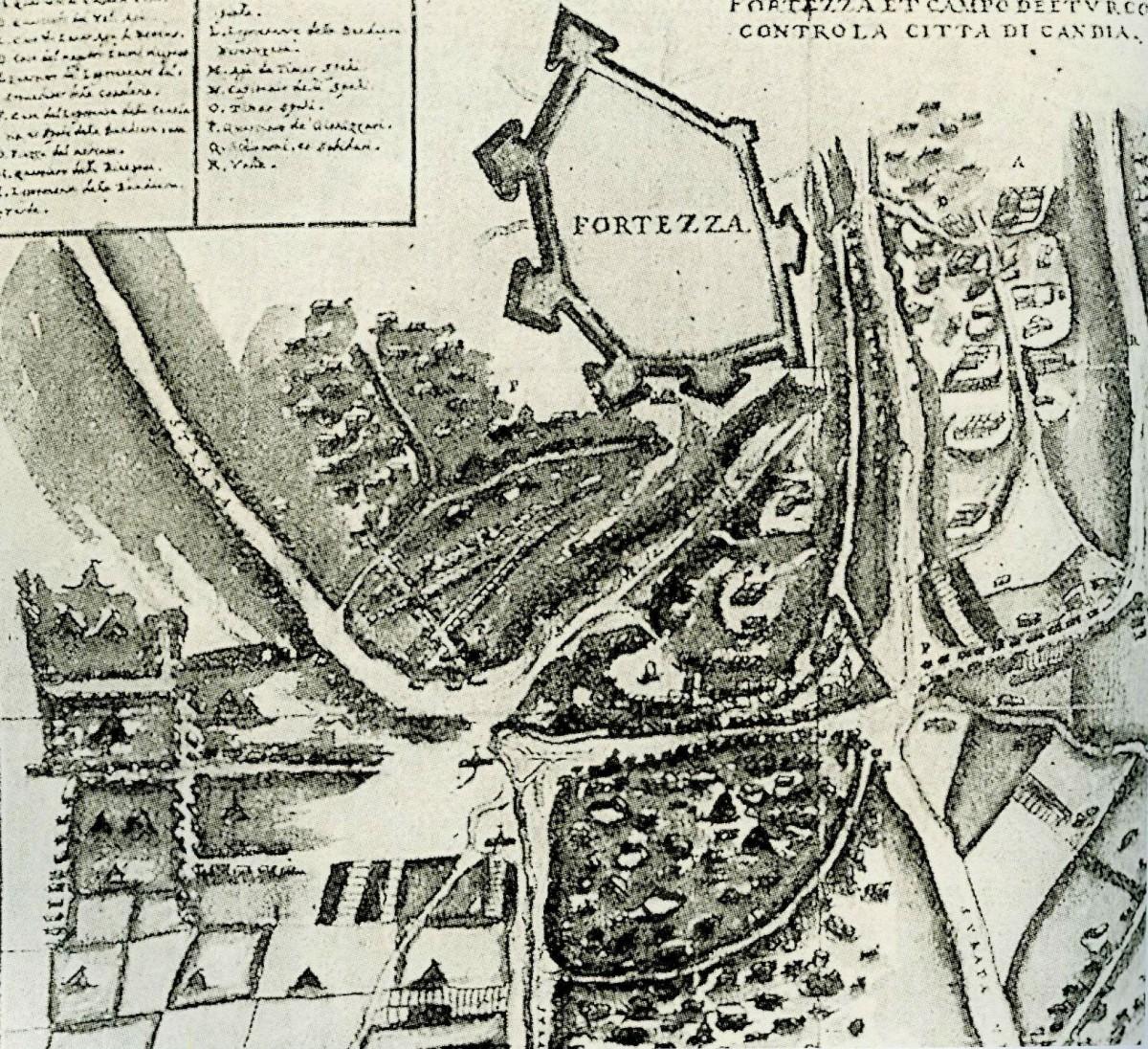 Εικ. 1. Το φρούριο Inadiye (1648-1650), νότια της πόλης του Χάνδακα, σε σχεδιάγραμμα του 17ου αι.