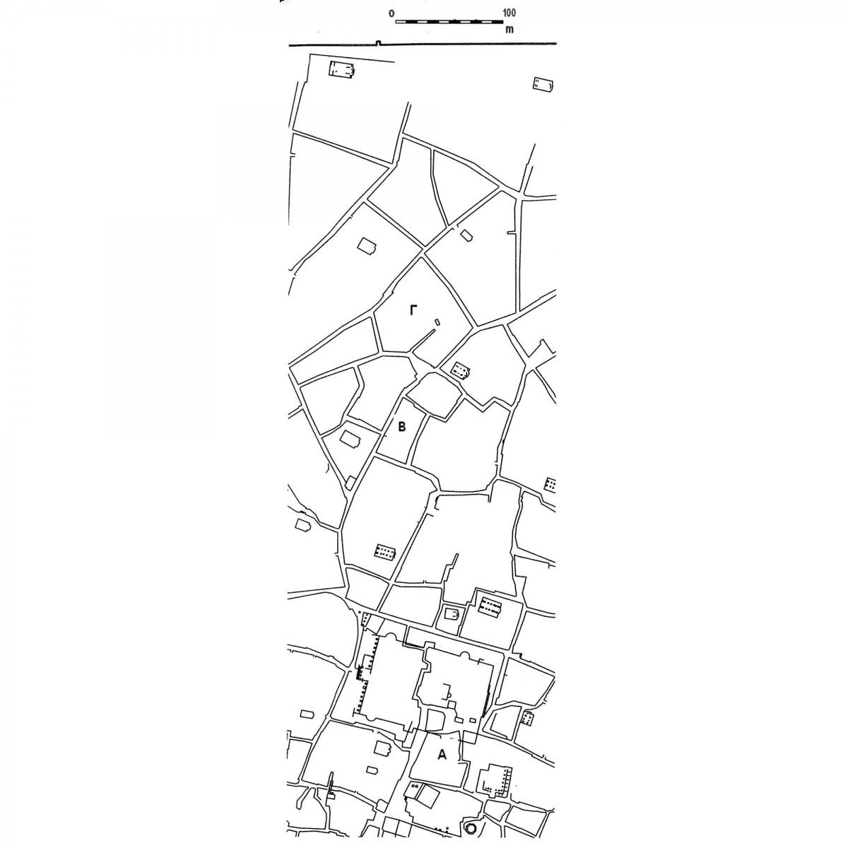 Εικ. 1. Απόσπασμα του χάρτη των Σταμάτη Κλεάνθη και Eduard Schaubert, του 1832 (ανασχεδίαση Δ. Ρουμπιέν). Σημειώνονται οι σχολιαζόμενες οικοδομικές νησίδες του Σταροπάζαρου (Α) και της κατοπινής οδού Αθηνάς (Β και Γ).