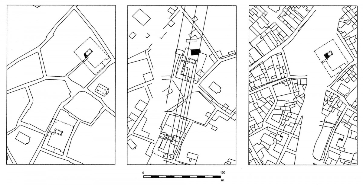 Εικ. 10. Πιθανές τοποθετήσεις του αρχοντικού Μερτρούδ στις οικοδομικές νησίδες της οδού Αθηνάς, στους χάρτες (από αριστερά προς τα δεξιά) των Κλεάνθη-Schaubert, Weiler και Stauffert (σχεδίαση Δ. Ρουμπιέν). Στην οικοδομική νησίδα της Αγίας Μαύρας ο ομώνυμος ναός απεικονίζεται με σκίαση, ενώ τα κτίσματα (ούτως ή άλλως μεταγενέστερα αυτών του χάρτη του Weiler) αφαιρέθηκαν για λόγους ευκρίνειας.