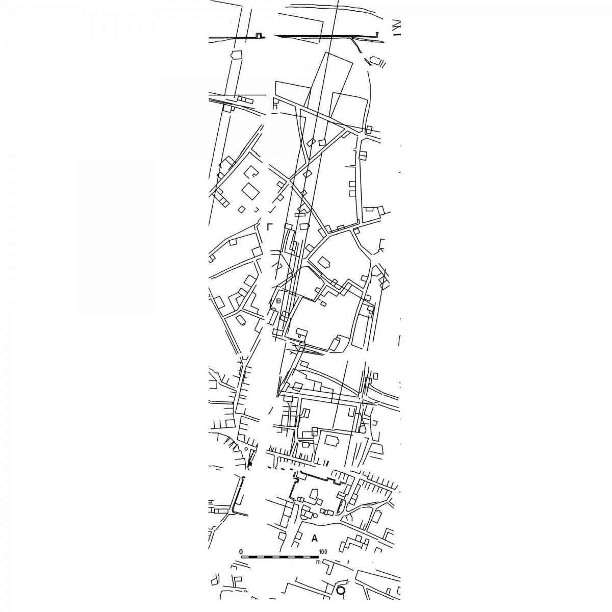 Εικ. 2. Απόσπασμα του χάρτη του Wilhelm von Weiler, του 1834 (ανασχεδίαση Δ. Ρουμπιέν). Σημειώνονται οι σχολιαζόμενες οικοδομικές νησίδες του Σταροπάζαρου (Α) και της υπό χάραξη οδού Αθηνάς (Β και Γ).