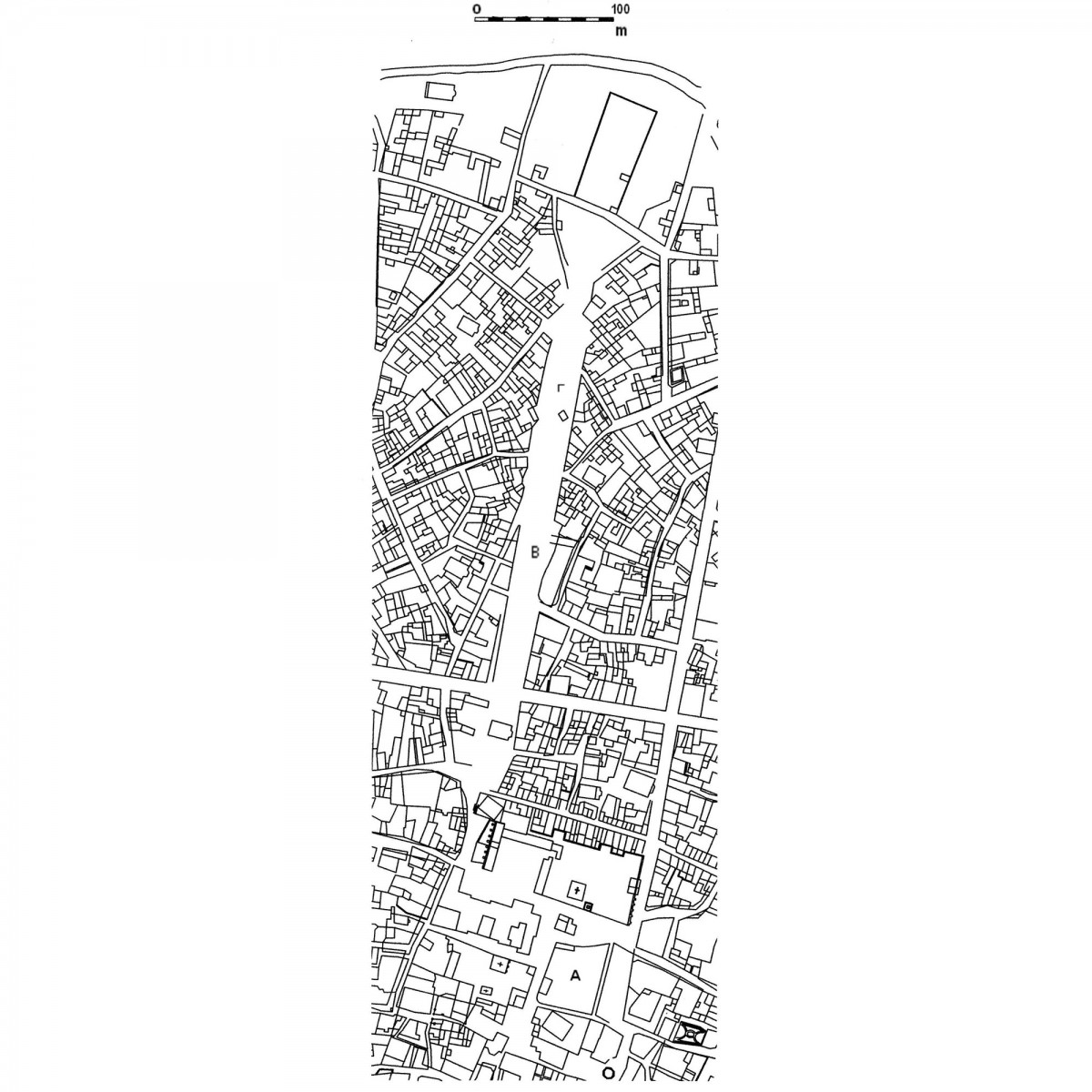 Εικ. 3. Απόσπασμα του χάρτη του Friedrich Stauffert, του 1836 (ανασχεδίαση Δ. Ρουμπιέν). Σημειώνονται οι σχολιαζόμενες οικοδομικές νησίδες του Σταροπάζαρου (Α) και της οδού Αθηνάς (Β και Γ).