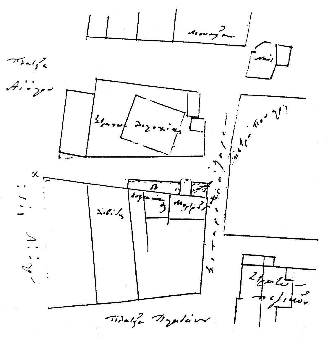 Εικ. 4. Το οικοδομικό τετράγωνο μεταξύ των οδών Αδριανού, Αιόλου, Πελοπίδα και Πανός (Γ.Α.Κ., Σχέδιο Πόλεως Αθηνών, φάκελος 5, συνοδεύει έγγραφο της 14ης Ιουνίου 1851, ανασχεδίαση Δ. Ρουμπιέν). Ο βορράς είναι προς τα κάτω.