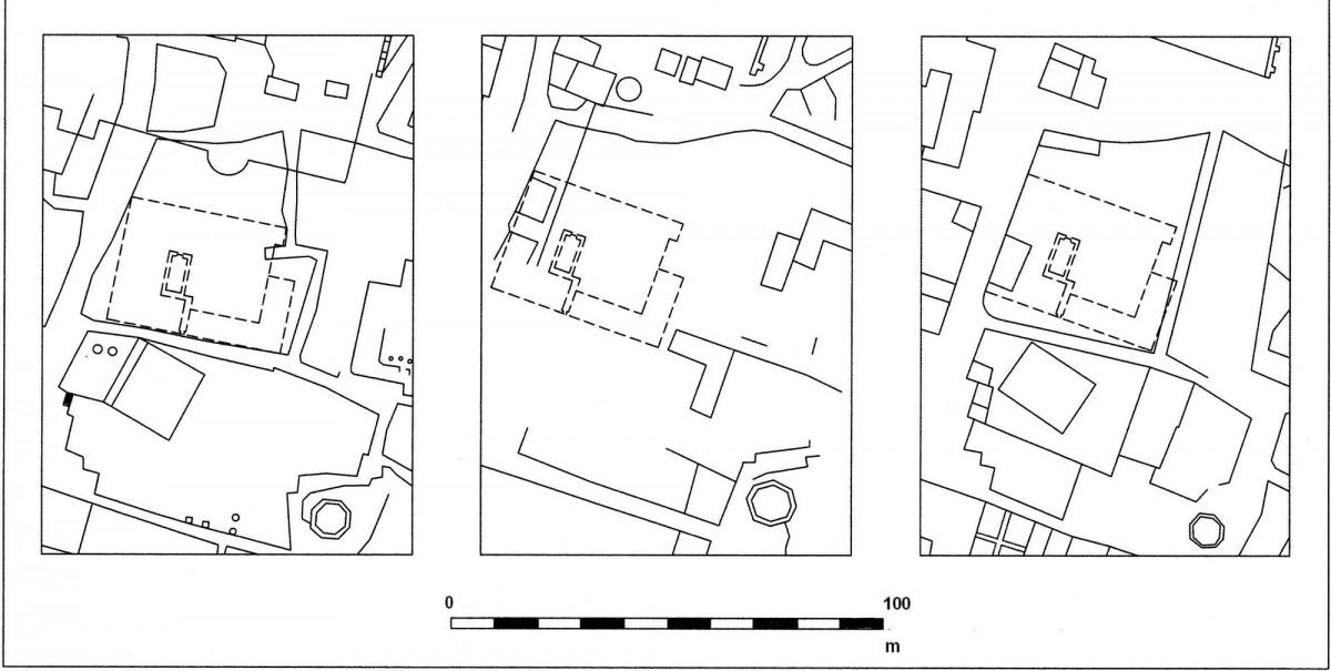 Εικ. 8. Πρώτη πιθανή τοποθέτηση του αρχοντικού Μερτρούδ στο οικοδομικό τετράγωνο μεταξύ των οδών Αδριανού, Αιόλου, Πελοπίδα και Πανός, στους χάρτες (από αριστερά προς τα δεξιά) των Κλεάνθη-Schaubert, Weiler και Stauffert (σχεδίαση Δ. Ρουμπιέν).