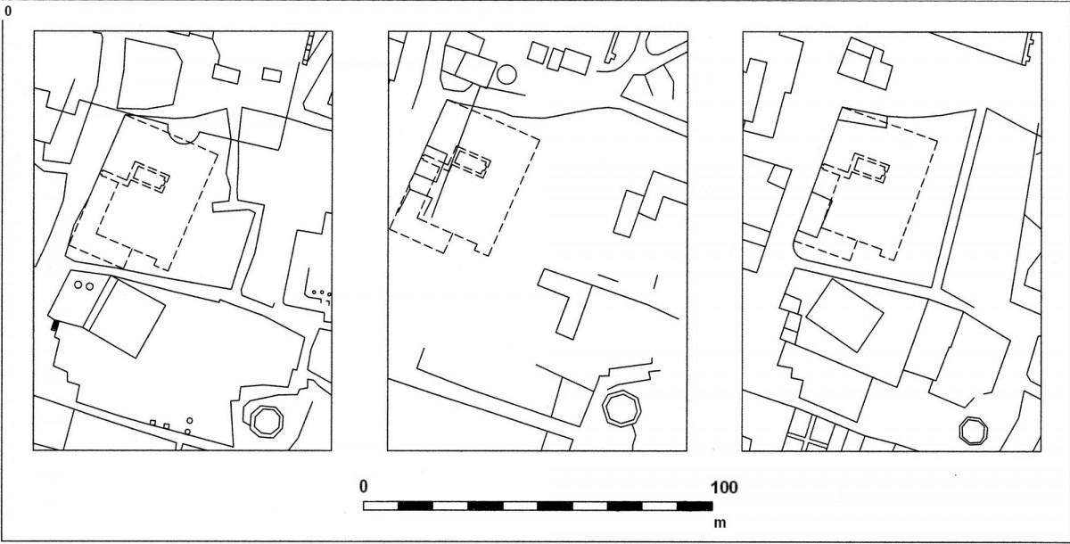 Εικ. 9. Δεύτερη πιθανή τοποθέτηση του αρχοντικού Μερτρούδ στο οικοδομικό τετράγωνο μεταξύ των οδών Αδριανού, Αιόλου, Πελοπίδα και Πανός, στους χάρτες (από αριστερά προς τα δεξιά) των Κλεάνθη-Schaubert, Weiler και Stauffert (σχεδίαση Δ. Ρουμπιέν).