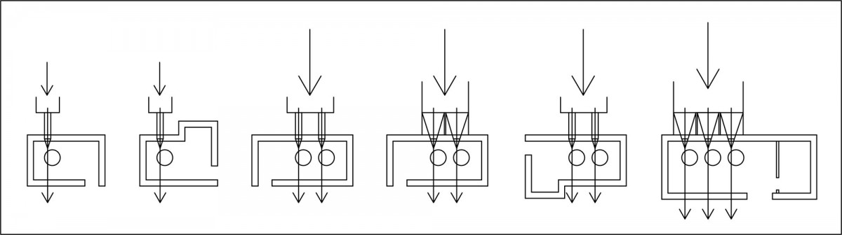 Εικ. 3. Σκαριφήματα της πλειονότητας των τύπων κτιρίων των μύλων που εντοπίστηκαν στην περιοχή. (σχεδ.: συγγραφείς)