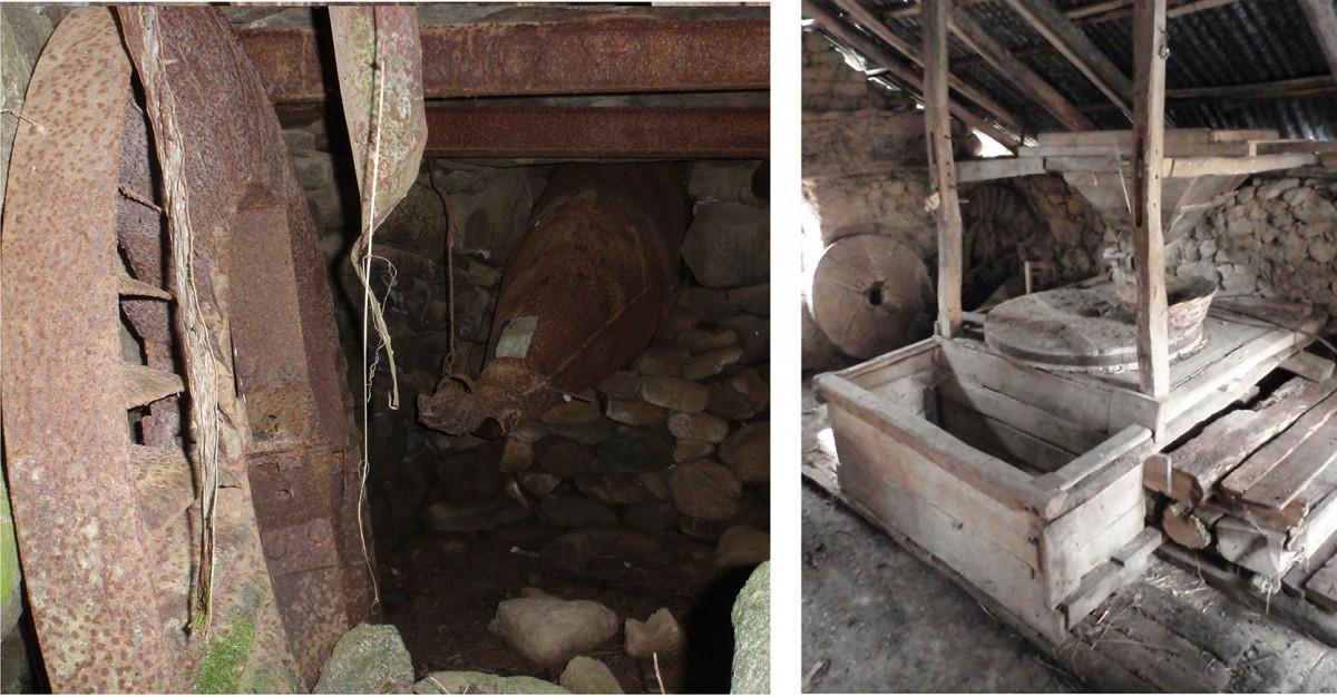 Εικ. 6. Απόψεις από τους νερόμυλους του οικισμού του Κρατερού, οι οποίοι αποτελούν χαρακτηριστικά δείγματα. (φωτ.: συγγραφείς)