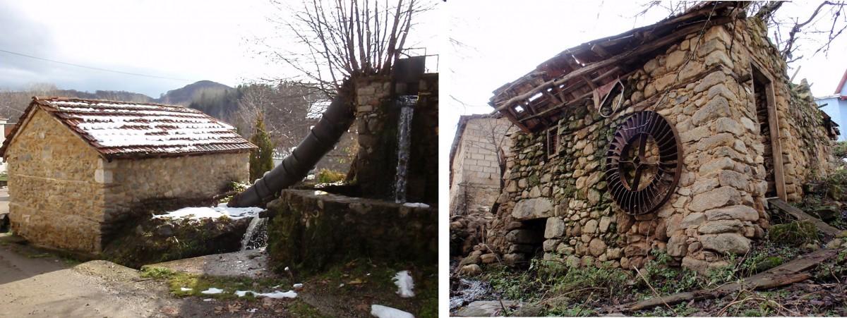 Eικ. 7. Απόψεις από τους νερόμυλους του οικισμού του Κρατερού, οι οποίοι αποτελούν χαρακτηριστικά δείγματα. (φωτ.: συγγραφείς)