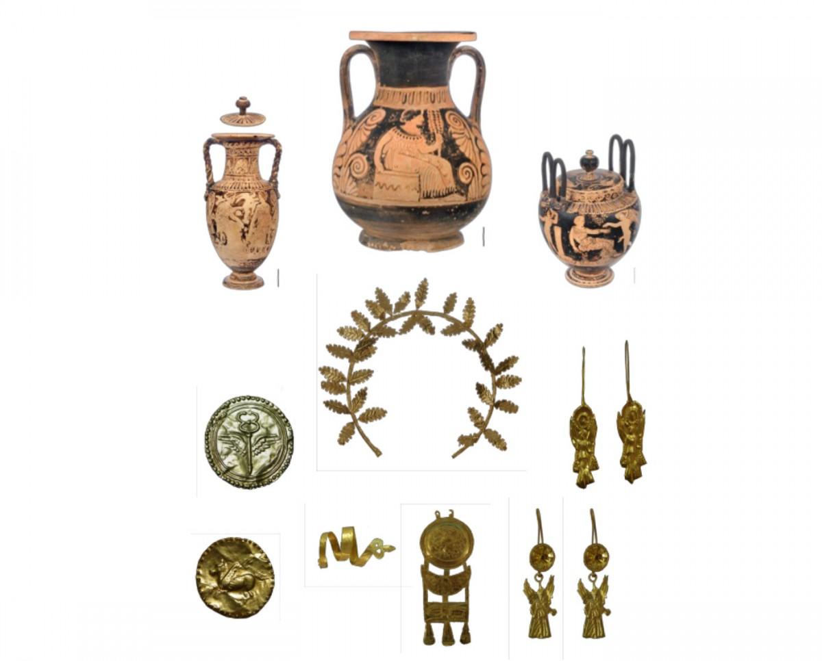 Δυτική Νεκρόπολη Αμβρακίας. Τεφροδόχο αγγείο και κτερίσματα (αμφορίσκος, γαμικός λέβης, χρυσό στεφάνι, δανάκες και κοσμήματα). Φωτ. Εφορεία Αρχαιοτήτων Άρτας.
