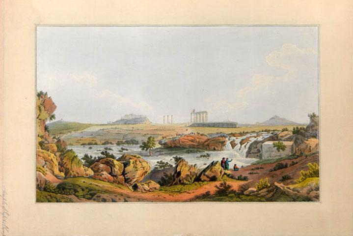 Ο ναός του Ολυμπίου Διός και ο ποταμός Ιλισσός από το βιβλίο του Edward Dodwell, «Views in Greece», London 1821 (Βιβλιοθήκη της Βουλής των Ελλήνων, αρ.κατ. ΣΒΞ (f)ΠΕΡ 1821 VIE).