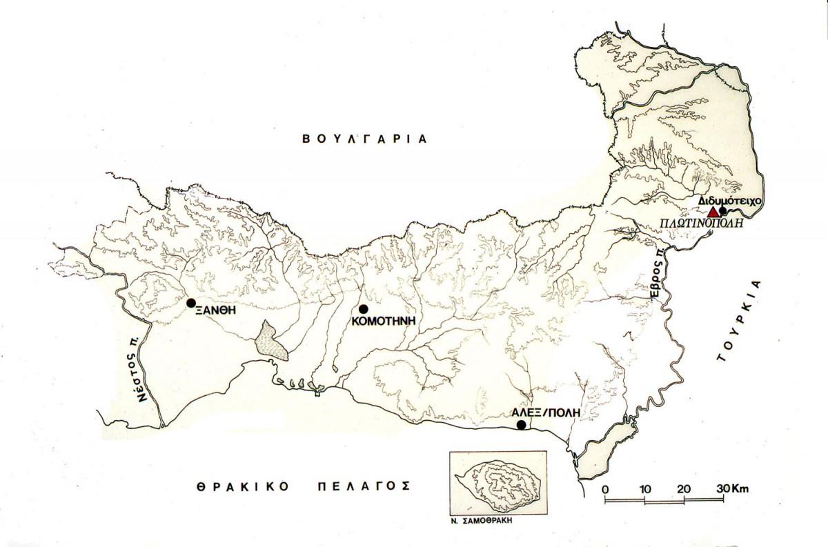 Εικ. 2. Χάρτης της Θράκης όπου σημειώνεται η θέση της Πλωτινόπολης.