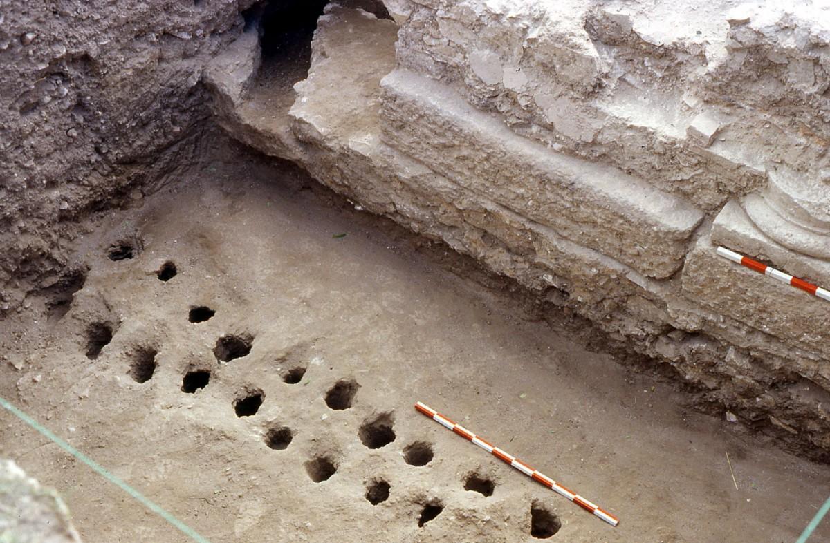 Εικ. 9. Πασσαλότρυπες από προϊστορικό πασσαλόπηκτο κτίριο (5η χιλιετία π.Χ.).