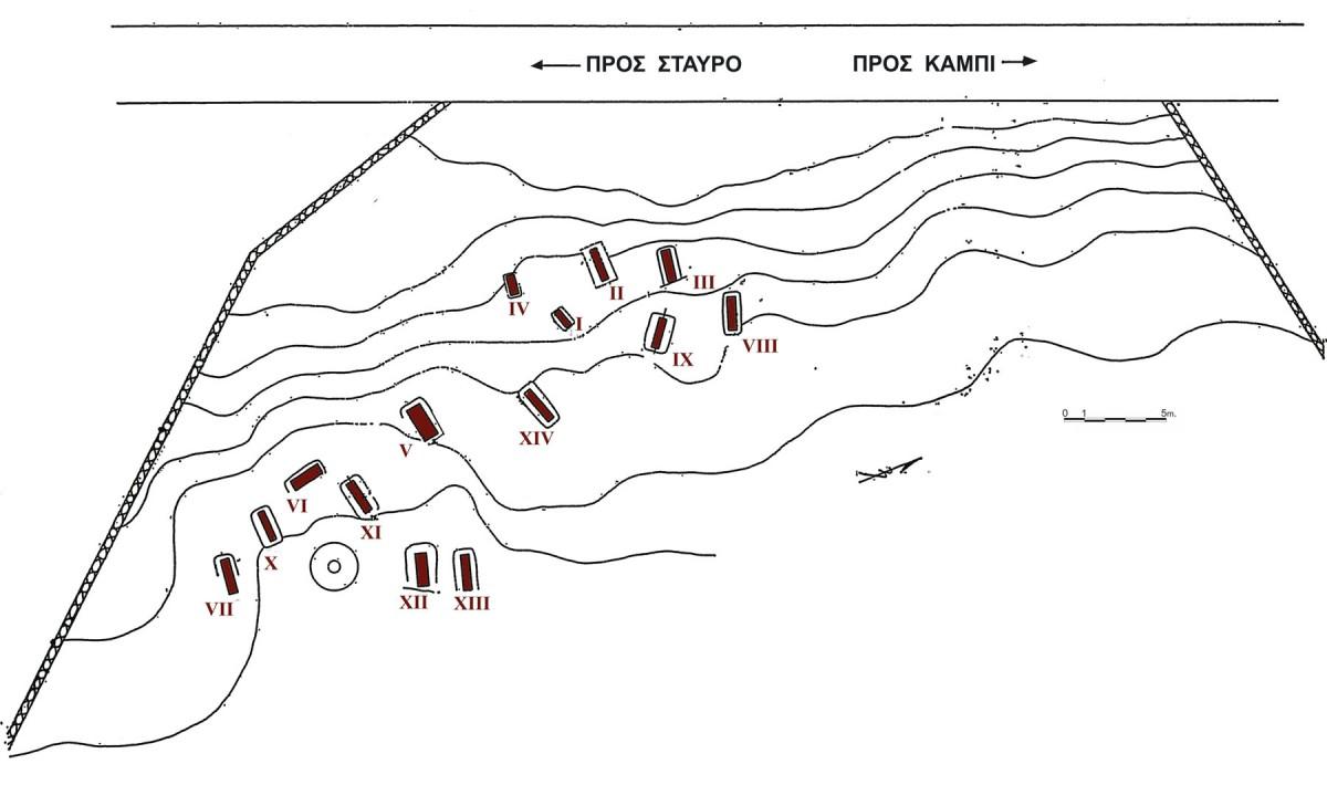 Εικ. 1. Κάτοψη νεκροταφείου (Αγαλλοπούλου, ΑΔ 28, 1973, Μελέτες, σχέδ. 1).