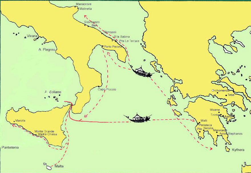 Eικ. 18. Θαλάσσιες διαδρομές αιγαιακού κόσμου προς τη Δύση κατά τη Μυκηναϊκή περίοδο.