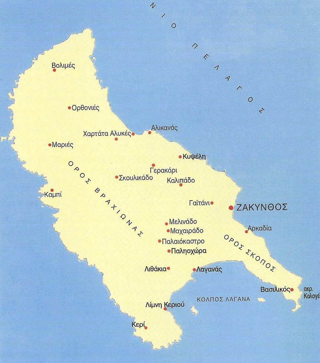 Εικ. 19. Χάρτης της Ζακύνθου με σημειωμένες τις κυριότερες θέσεις κατά τους προϊστορικούς και ιστορικούς χρόνους.
