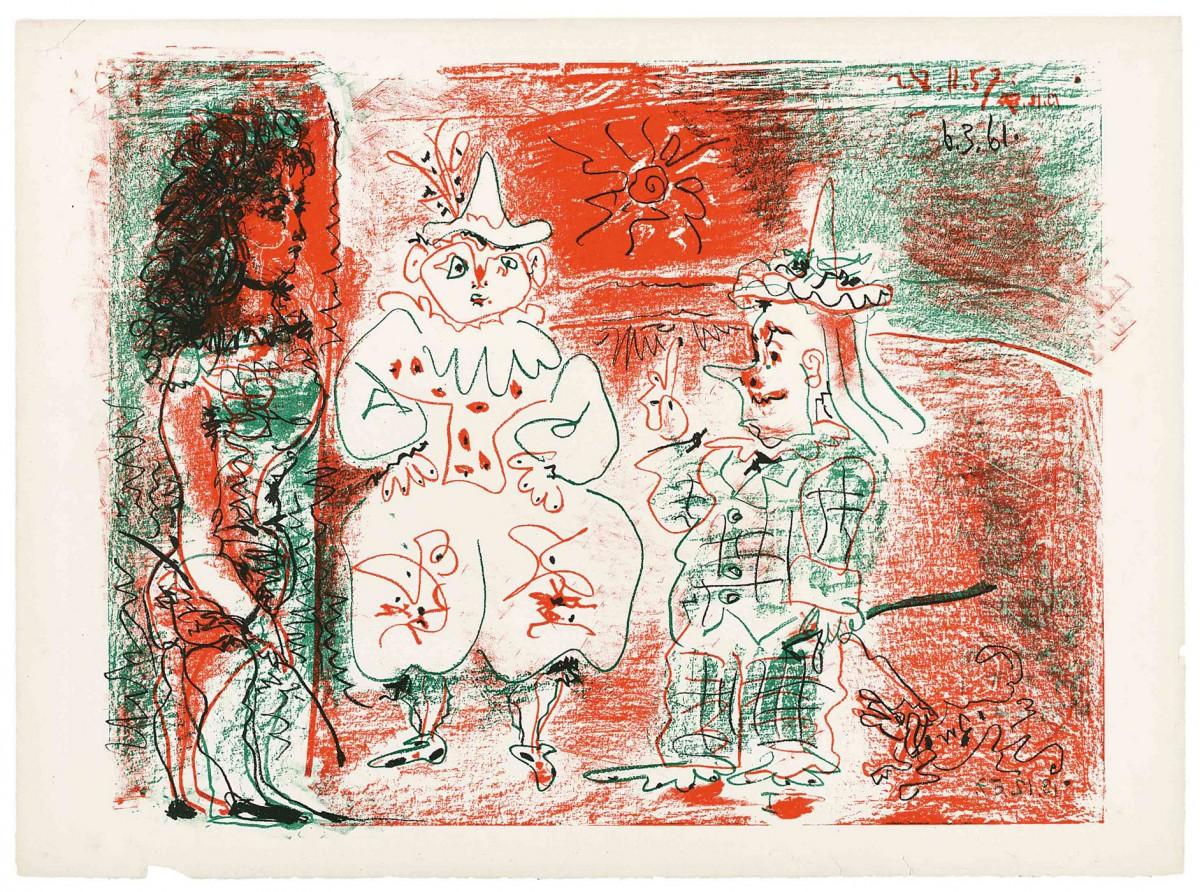 «Η ιππέας τσίρκου και οι κλόουν» έργο του Πάμπλο Πικάσο (6.3.1961). Λιθογραφία, 56x76,1 εκ.