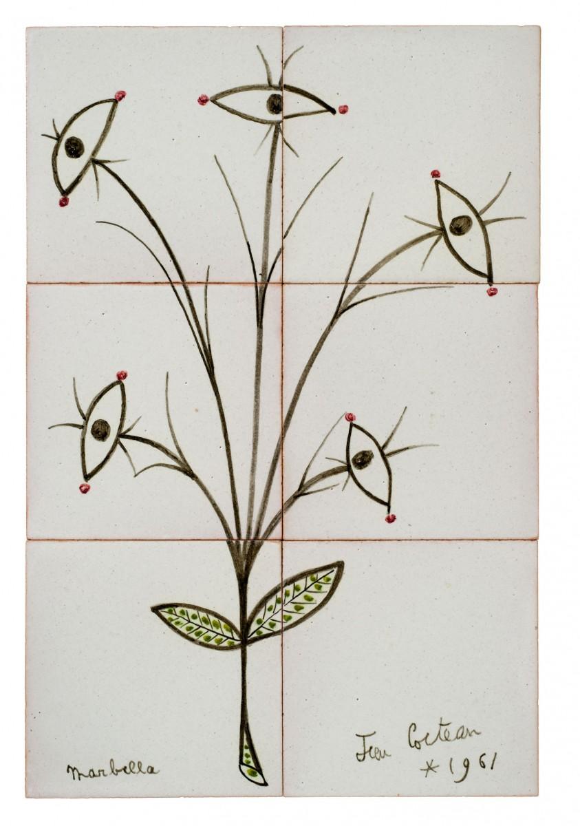 «Άνθος των ματιών», έργο του Ζαν Κοκτώ. Marbella, 1961. Επιτοίχια σύνθεση με έξι πλακίδια από επισμαλτωμένη τερακότα, 42x28 εκ.