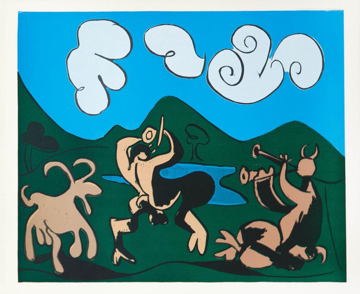 «Φαύνοι και κατσίκα», έργο του Πάμπλο Πικάσο. Νοέμβριος 1959. Έγχρωμη λινοτυπία, 62,2x75,2 εκ.