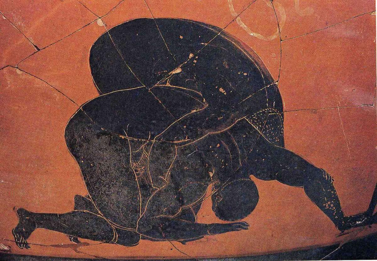 Σκηνή πάλης. Λεπτομέρεια από παναθηναϊκό αμφορέα του 4ου αι. π.Χ. από την Ερέτρια.