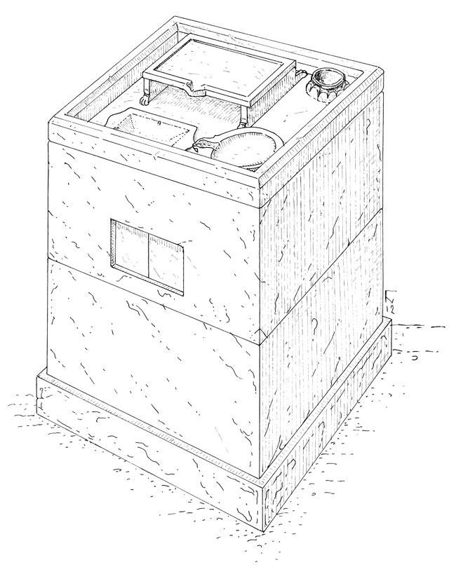 Σχεδιαστική αναπαράσταση του αρχαίου κιβωτίου.